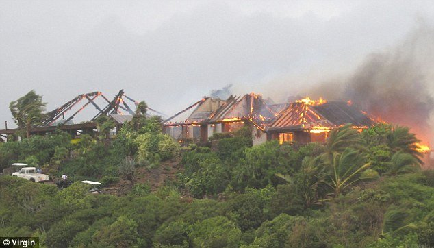 Fire broke out last night at Richard Branson's Caribbean Great House on Necker, his private isle in the British Virgin Islands