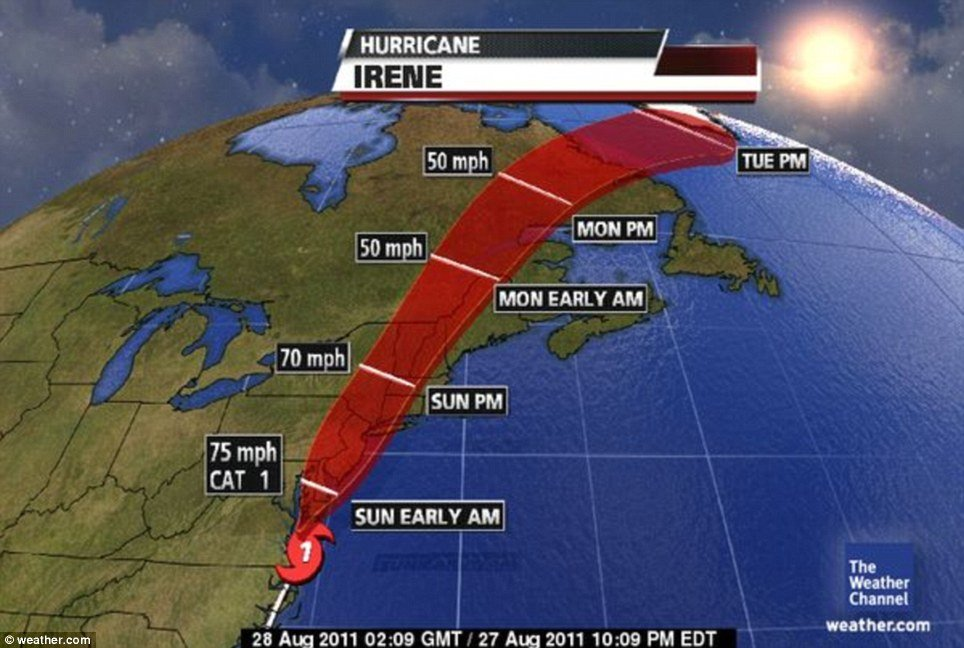 Hurricane Irene path along East Coast