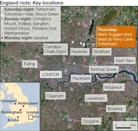 England riots mapping