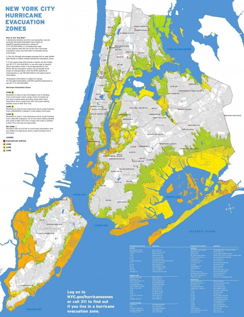 New York City hurricane evacuation zones.