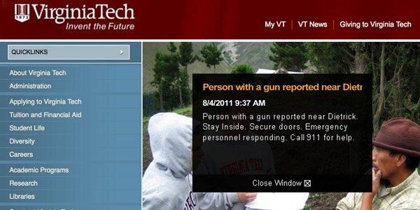 Possible gunman Virginia Tech Lockdown