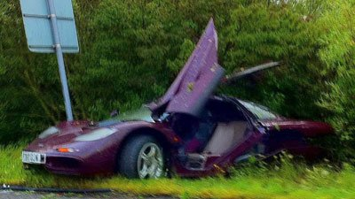 Rowan Atkinson McLaren F1 supercar crashed
