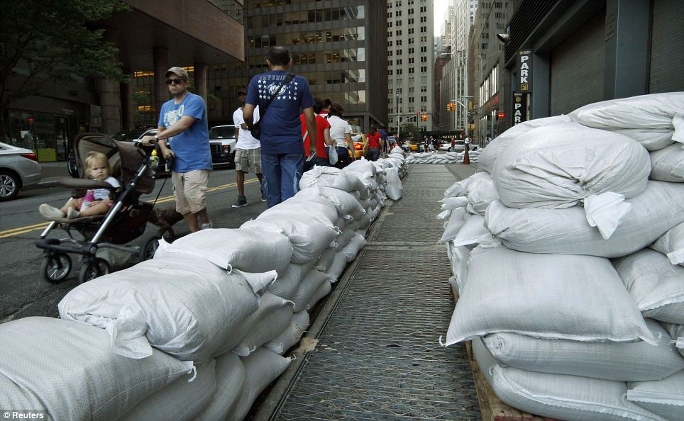 Sandbags laid down in Manhattan which will be used to control possible floods
