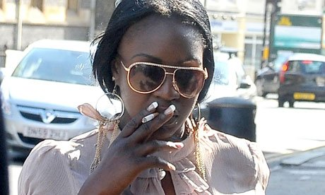 Semone Wilson, Mark Duggan's fiancee, at North London coroner's court, in High Barnet, Tuesday morning