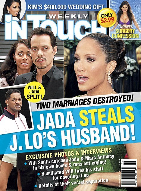 The cover of InTouch magazine which was released yesterday with a 6 pages article making a series of claims that Will Smith and Jada Pinkett Smith have separated photo