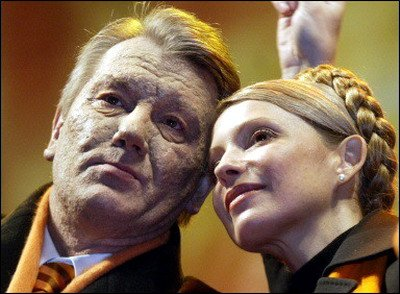 Viktor Yushchenko and Yulia Tymoshenko during Orange Revolution 2004