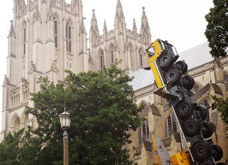 A huge crane toppled Wednesday at the Washington National Cathedral