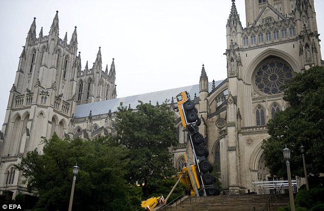 All 20 people inside the buildings when the crane collapsed were not hurt and Washington National Cathedral itself was not damaged