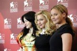Andrea Riseborough, Madonna and Abbie Cornish pose at the photo call for the film W.E. during the 68th edition of the Venice Film Festival. (AP photo)