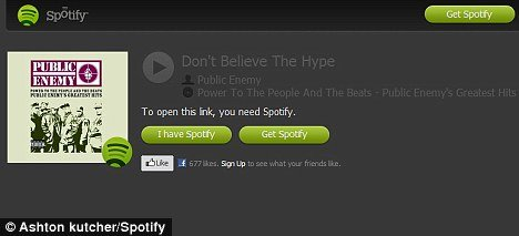 Ashton Kutcher posted this link to Public Enemy song Don't Believe the Hype on his Spotify account on Wednesday
