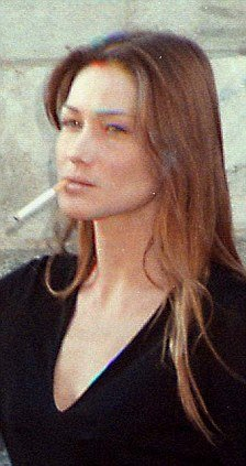 Carla Bruni smoking during her activity as model