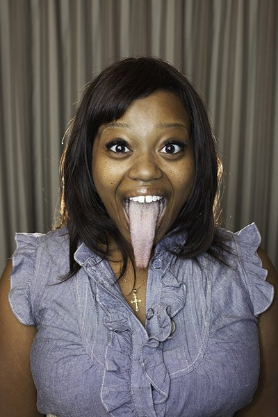 Chanel Taper in the 2012 edition of Guinness Book of World Records for the longest tongue , measuring 4 inches (about 10.16 cm)