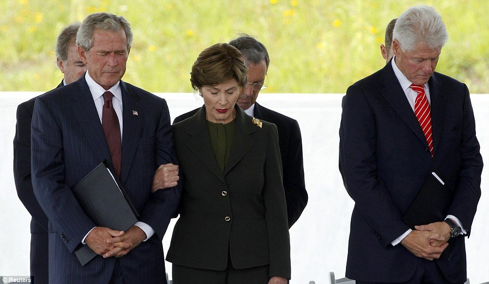 Former presidents George W. Bush and Bill Clinton were among guests at dedication in Shanksville, Pennsylvania, of memorial to Flight 93 hijackers on Saturday