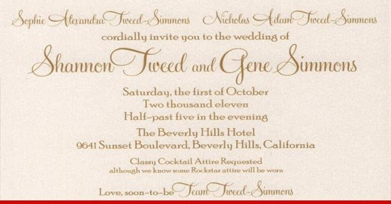 Gene Simmons and Shannon Tweed wedding invitation  photo