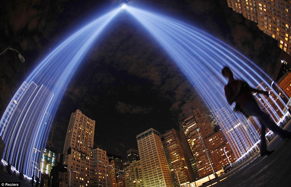 "Ground Zero ""Tribute in Light"" uses 88 powerful beams and has been running every year to mark the anniversary of the attacks"