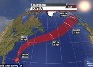 Hurricane Katia's remnants hit Britain this morning