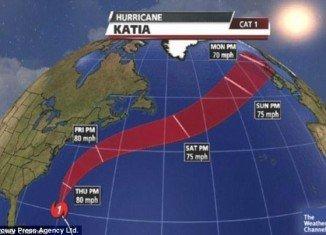 Hurricane Katia's remnants hit Britain this morning