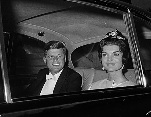 Jacqueline Kennedy and JFK during the official visit in France