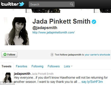 Jada Pinkett Smith thanked her fans on Twitter