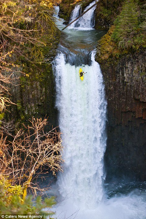 Jesse Coombs became the first person to kayak successfully down the 96 ft (30 m) Abiqua Falls in Oregon