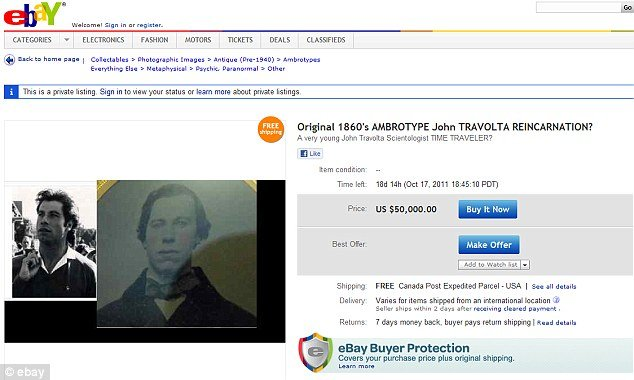 John Travolta lookalike photo has been listed at $50,000 or nearest offer on eBay