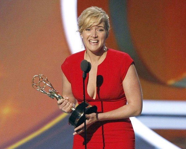 "Kate Winslet won the Emmy Award for lead actress in a miniseries or TV movie for her part in ""Mildred Pierce"""