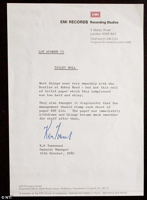 Ken Townsend letter stating why Beatles didn't want to use the toilet roll during their time at Abbey Road