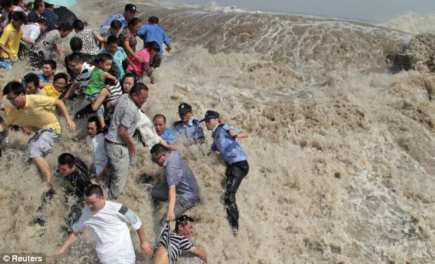 More than 20 people were injured after the wave swept through the throng