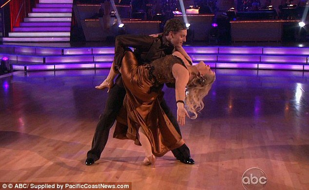 Nancy Grace's dress first slipped down during a dip move with her partner Tristan MacManus on last night's DWTS show