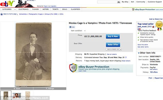 Nicolas Cage lookalike photo eBay starting price is $1million