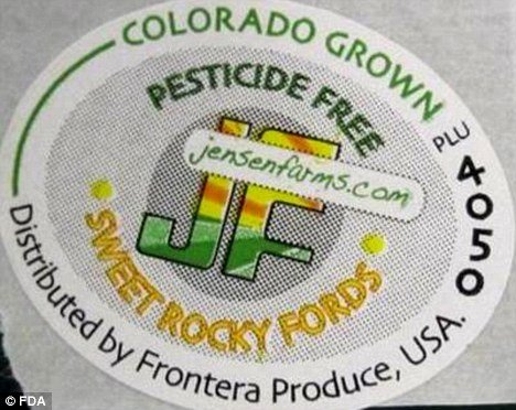 One of the labels from the recalled cantaloupe of Jensen Farms