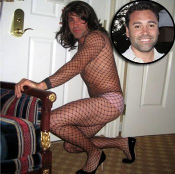 Oscar De La Hoya in fishnet stockings and high heels