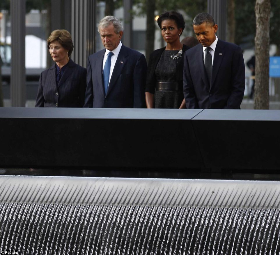 President Barack Obama and his predecessor George W. Bush participating at the September 11 10th anniversary at Ground Zero