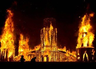Temple of Transition was burnt to the ground to celebrate the end of 2011 Burning Man project