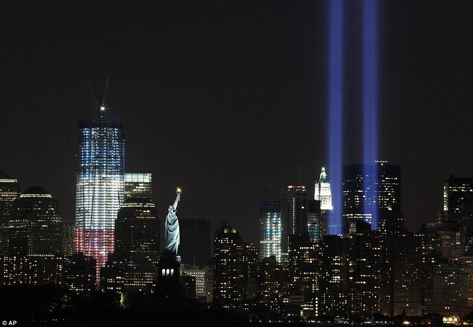 "The ""Tribute in Lights"" could be seen in New York on Saturday night, shining into the sky as a mark of remembrance of the World Trade Centre Twin Towers"