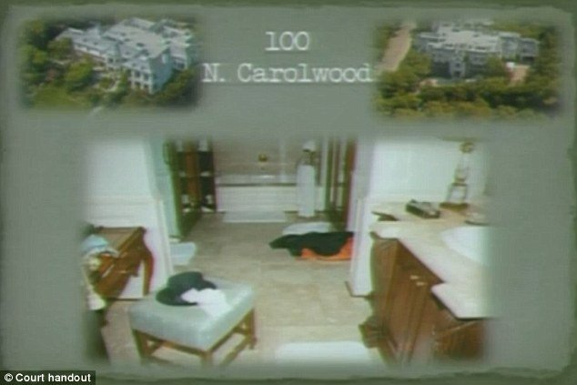 The court was shown pictures from inside Michael Jackson's home, here is the bathroom with his jacket on the floor