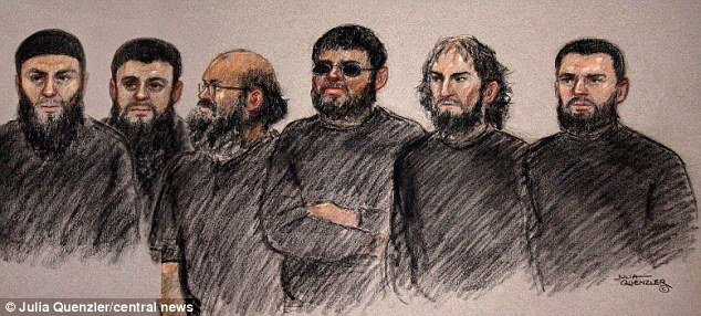 The six men who are accused of training in explosives, weapons and poisoning techniques: from left, Mohammed Rizwan, Bahader Ali, Ifran Nasser, Rahin Ahmed, Ifran Khalid and Ashik Ali