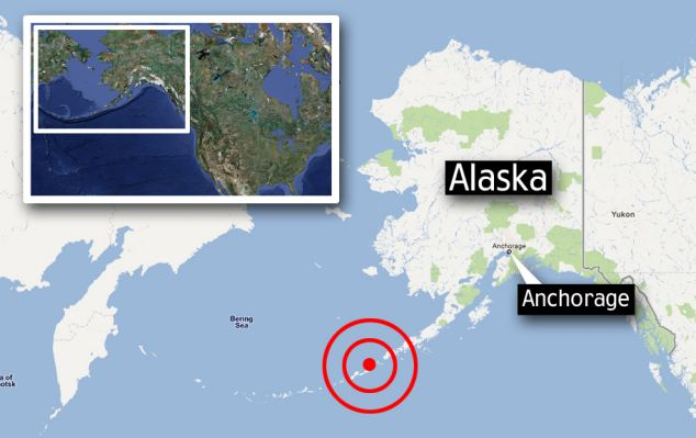 This morning a massive quake strikes off Aleutian Islands south west of Alaska photo