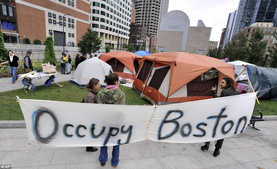 """Occupy Boston"" demonstrators camping outside the Federal Reserve building"