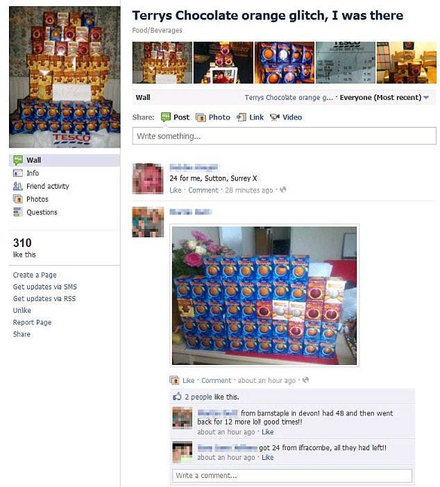 "A Facebook page called ""Terrys Chocolate orange glitch, I was there"" has been created and flooded with people posting photos of their chocolate hordes as well as their receipts"