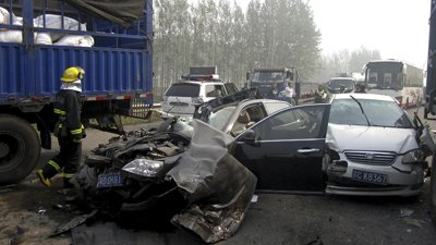 At least 56 people have been killed in three major road collisions in China on the last day of a week-long holiday