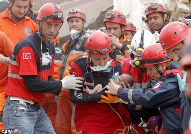 Baby Azra Karaduman, a 14-day-old infant was pulled alive from the rubble of the Turkish earthquake at almost 48 hours after the disaster struck