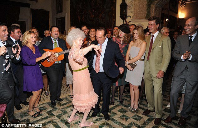 Duchess of Alba delighted her guests when she took to the dance floor with celebrated Spanish Matador Curro Romero