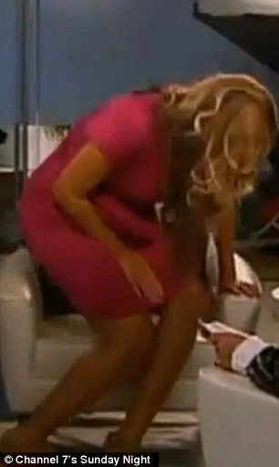 During the interview on Sunday Night show, the cameras appear to show Beyonce's bump being squashed and moving as she sits down