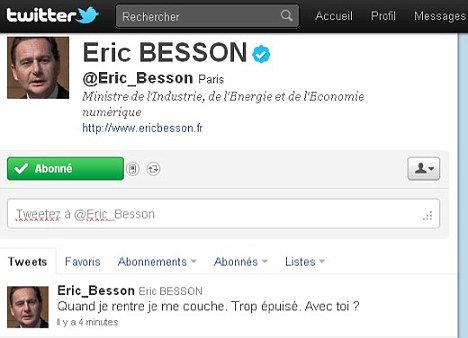 Eric Besson's message was flashed up on the internet to more than 14,000 Twitter followers