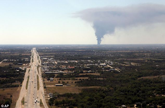 From Interstate 35E just south of Interstate 20, close to Dallas, a giant plume of smoke can be seen rising from the Magnablend chemical processing plant in Waxahachie, Texas