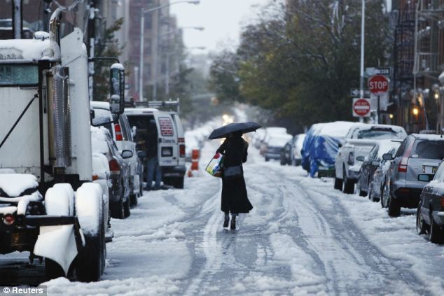 New York City has been hit by more than one inch of snowfall before Halloween for the first time ever - with experts predicting much more on the way