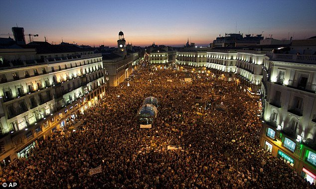 One of the biggest gatherings was seen in Spain where 60,000 people joined demonstrations in Madrid's Puerta del Sol