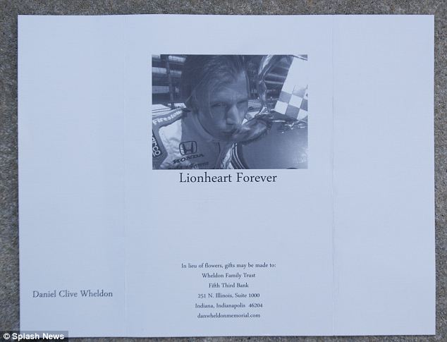 "Order of Service wrote on the front page ""Lionheart Forever"", underneath a picture of Dan Wheldon kissing one of his many trophies - in reference to the driver's nickname, earned for fearless racing"