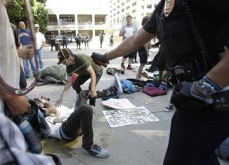 Police used pepper spray to disperse Occupy San Diego protesters